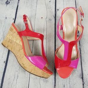 MARC FISHER | cork strappy platform wedge sandals
